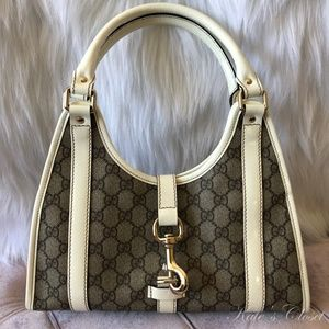 GUCCI GG Canvas White and Beige Shoulder Bag